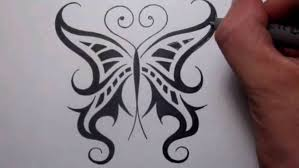 drawing a cool tribal butterfly tattoo design youtube