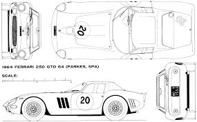 ferrari front drawing 1964 ferrari 250 gto coupe blueprints free outlines