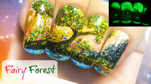 fairy forest freehand nail art tutorial glow in the dark nail