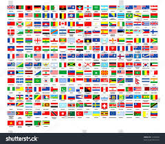 World National Flags With Names 257 World Country Flags Alphabetically Order Stock Illustration