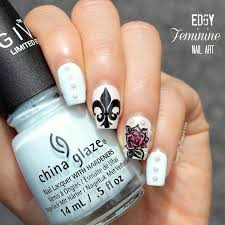edgy feminine nail art fleur de lis u0026 inked rose how to paint
