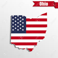 Map Ohio State by Ohio State Map With Us Flag Inside And Ribbon Royalty Free