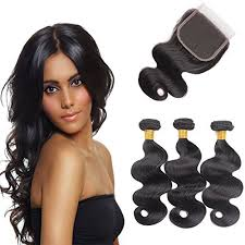 remy human hair extensions 3 bundles wave with 4x4 closure unprocessed