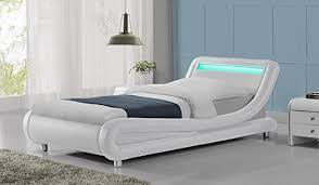 madrid designer led lights headboard faux leather bed frame black