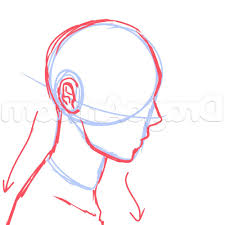 drawing side of face anime drawing of sketch