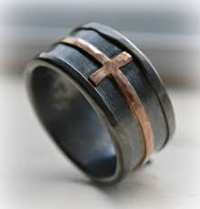 christian wedding bands mens cross wedding band rustic hammered cross ring oxidized in