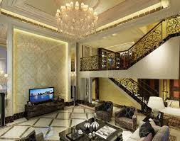 european style villas suspended ceiling and stairwell 3d house