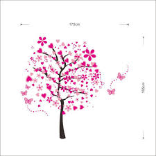 pink love tree wall decals trendy wall art