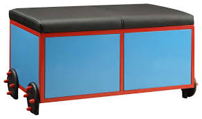 Storage Bench Kids Acme Tobi Bench With Storage Blue Red And Black Train Modern