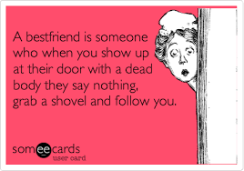 Shovel Meme - a bestfriend is someone who when you show up at their door with a