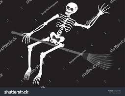Halloween Skeleton Games by Funny Skull Skeleton Riding Broom Night Stock Vector 248261386