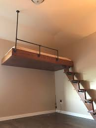 Bedroom Loft Ideas Diy Loft Bed With Iron Piping And Oak Lofts And Iron