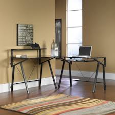 Black Glass L Shaped Desk by Ameriwood L Shaped Desk Black Best Home Furniture Decoration