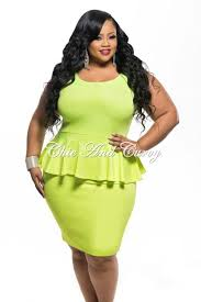 new plus size bodycon peplum tank dress in neon green u2013 chic and curvy