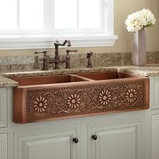 Sunflower  Offset DoubleBowl Copper Farmhouse Sink - Copper sink kitchen