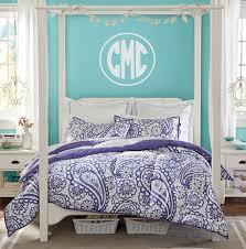 bedroom comfortable monogrammed bedding for your bedroom design interesting white canopy bed with decorative monogrammed bedding and bedside table for modern bedroom design