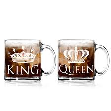 king and queen glass coffee mugs 13 oz set of 2 made in