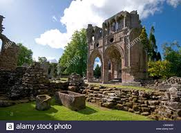 dryburgh abbey with section and stone baths stock photo royalty