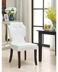 White Tufted Dining Chairs Deals On Iconic Home 2 Piece Contemporary Tufted Cream White Pu