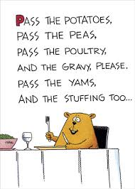 pass the potatoes humorous thanksgiving card by recycled
