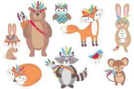 tribal woodland animals clipart by paperhutdesigns thehungryjpeg com