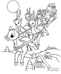 reindeer coloring pages printable rudolph santa free