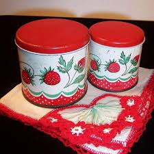 vintage wolverine tin toy strawberry kitchen canisters from