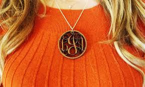 Custom Monogram Necklace Custom Wood Monogram Necklace Groupon
