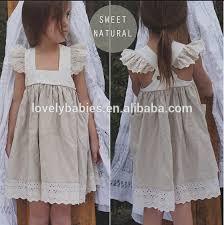 cheap korean cotton linen dress kids flutter sleeves dress design