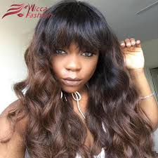 body wave hair with bangs ombre brown body wave full lace wig with bangs for black women