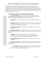 transitions from quote to explanation short answer questions require a brief paragraph long