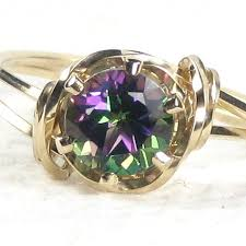 topaz gemstone rings images Natural fire mystic topaz gemstone ring 14k rolled gold jpg