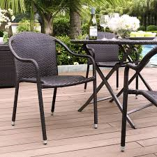 Patio Wicker Furniture - palm harbor brown outdoor wicker stackable chairs set of 4 crosley
