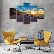 art painting for home decoration 5 panel blue sky highway canvas print painting home decoration