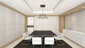 meeting room interior design with modern white leather arm chair