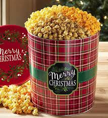 merry plaid 3 1 2 gallon a flavor popcorn tins from