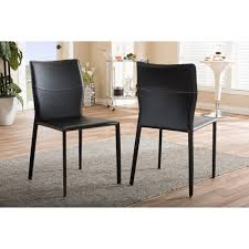 Modern Black Leather Dining Chairs Baxton Studio Asper Modern And Contemporary Black Leather