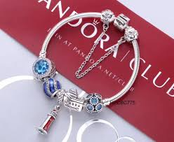 pandora jewelry silver bracelet images Pandora bracelet blue boat light house 5 pcs charms JPG