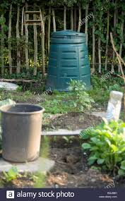 compost bin on an allotment plot stock photo royalty free image