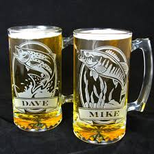 etched glass vase personalized 2 personalized fish beer steins etched glass trout and bass gift