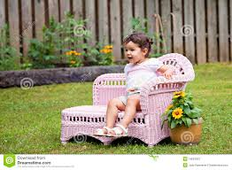 baby in pink chaise lounge stock image image 14687833