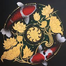 koi fish painting with golden lotus by artists royal