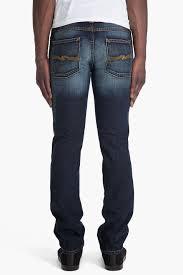nudie jeans slim jim organic slow used jeans in blue for men lyst