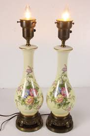 Antique Porcelain Table Lamps 2 Mslc Porcelain Table Lamps Morning Glory Floral Decals Mutual