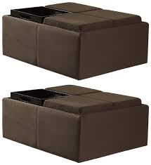 Ottoman With Flip Top Tray Homelegance Contemporary Storage Ottoman With Four Flip Top Tray