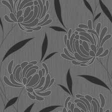 B Q Bedroom Wallpaper Graham U0026 Brown Nadine Black Floral Wallpaper Departments Diy