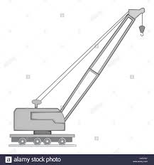 lifting crane icon gray monochrome style stock vector art