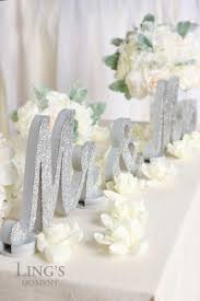 mr and mrs glitter letters sweetheart table decorations silver