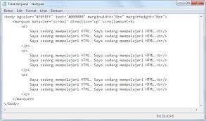 membuat teks berjalan menggunakan html contoh cara membuat konten bergerak menggunakan tag marquee