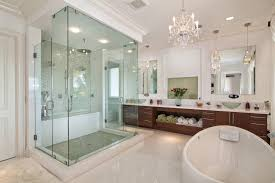 Commercial Bathroom Mirrors by Schonbek In Bathroom Transitional With Chandelier Ideas Next To